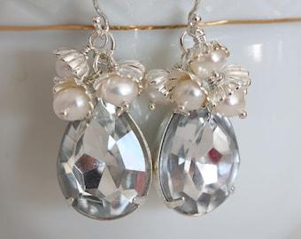 Silver Teardrop Earrings Crystal Teardrop Earrings Cluster Earrings  Pearl Crystal Earrings April Birthstone