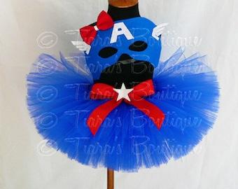 "Girls Halloween Costume Tutu Set - Captain America - Red White Blue Tutu - Custom Sewn 8"" Tutu w/ Mask - sizes up to 5T"