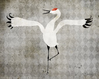 DIGITAL Download Original Crane Wall Art Rebecca Johnson