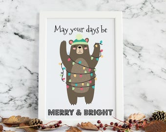 May Your Days Be Merry & Bright Christmas Wall Art Print
