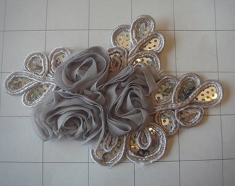 "Grey Flower and Sequins Braided Applique 4 1/2"" by 3 1/4"""