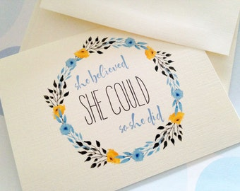 Greeting Cards, Note Cards, Stationery, Card Set, Personalized Card, Inspirational Card, She believed she could, Set of 8