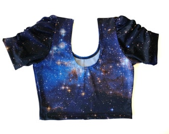 Galaxy Puff Sleeve Shirt ~ Actual Space Image ~ LH95 Printed Spandex Blue Crop Top Short Sleeves