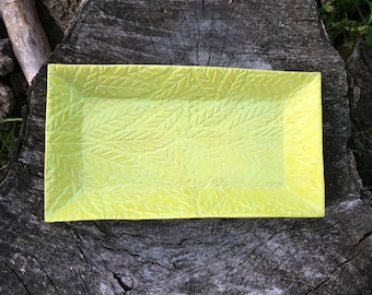 Chartreuse Serving Tray Stamped Lattice Leaf Texture Handmade Pottery by Daisy Friesen- READY TO SHIP