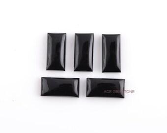 Wholesale Loose Gemstone-Black Onyx Rectangle 8x16 mm Gemstones-Cabochon Gemstone-Loose Gemstone-5Pcs