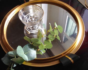 Classic French Gold framed mirrored drinks tray