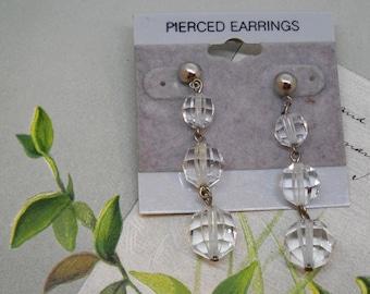 Long Graduated Austrian Crystal Dangle Pierced Earrings    MMOM