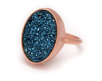 Royal Blue Druzy Ring - Rose Gold Ring - Druzy in RoseGold Ring - Druzy / Drusy Quartz - Available in Sizes 5, 6, 7 and 8