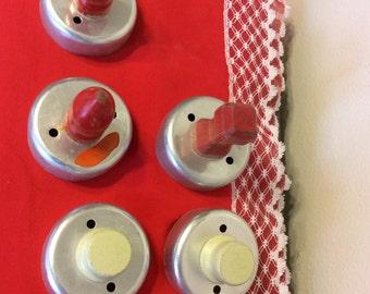 Five Round Vintage Cookie Cutters Metal