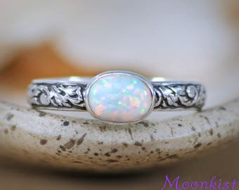 Opal Engagement Ring - Sterling Silver Oval Wedding Ring - Nature-Inspired Bridal Ring - Opal Promise Ring - Bezel-Set Opal Stacking Ring