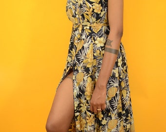 Vintage Black & Yellow Floral Print Sundress