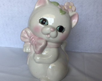 Vintage White and Pink Cat Collectible Figurine