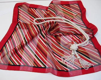 Vintage Scarf, 20 x 20 Inches, Square Scarf, Diagonal Striped Design, Red, White, Gold, Black, Chic and Stylish!
