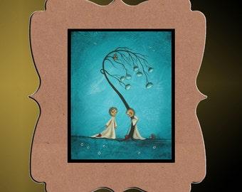 Whimsical  Art Print   -- Where You'll Find Me -- 8x10 - Creeper - Whimsical Tree - Hedgehog - Owl
