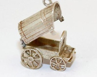 Vintage Opening Covered Wagon Sterling Silver Bracelet Charm (6g)