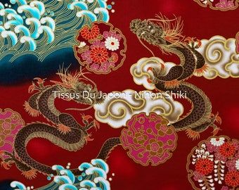 Dragon fabric - red dragon fabric - fabric patterns dragons - Japanese fabric - Red Dragon - fabric fat quarter TU28 50x50cm
