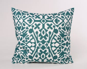 Teal Blue and White Throw Pillow Cover, Premier Print Plantation Blue Seville Cover Designed to Fit 16, 18, 20 or 22 Inch Standard Insert