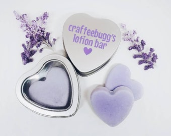 Lotion Bar Heart Shaped Solid Lotion Lavender Essential Oil Scented in Personal Tin Container Perfect for Travel, Office, Pocket