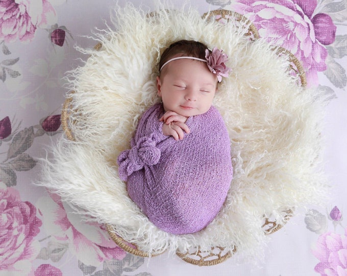 Lilac / Lavender satin flower headband AND/OR Stretch Knit Wrap -  for newborn photos,  foto bebe, photo,  by Lil Miss Sweet Pea