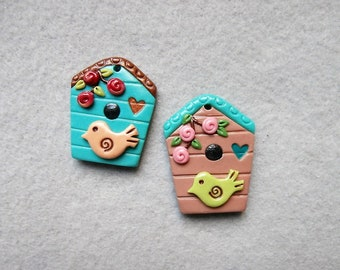 Birdhouse Pendants in Polymer Clay - Home Sweet Home