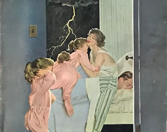 1958 Saturday evening post magazine cover - Lightning storm - Three little girls crawl into bed with mom and dad
