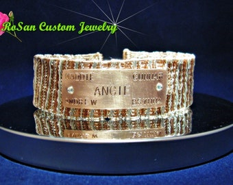 Copper and Sterling Silver Wire Woven Personalized Keepsake Cuff Bracelet