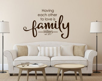 Family Wall Decal, Monogram Wall Decal, Monogram Decal, Living Room Vinyl Decal, Family Name Monogram, Custom Monogram Decal Family Gift