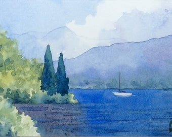 ACEO Original watercolor painting - Il navigante