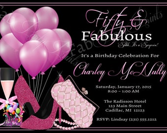 50th birthday invitations etsy womens 50th birthday invitation adult 50th birthday party invitation for ladies elegant pink party filmwisefo Images