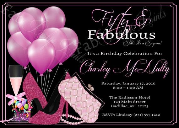 Women S 50th Birthday Invitation Adult 50th Birthday