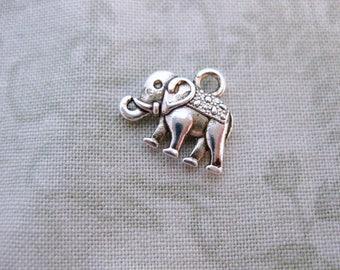 12 Silver Elephant Charms 12x14 mm (tiny) - Tibetan Silver Tone