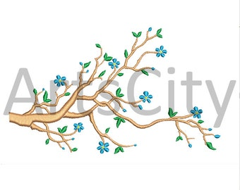 Tree Branch in Bloom Embroidery Design Applique INSTANT DOWNLOAD embroidery tree branch flowers spring PES
