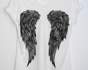 Angel Wings Clothing Women's Clothing Tops tees T-shirts hand painted tshirt graphic tee for her gift for her womens tops white tee ali alas