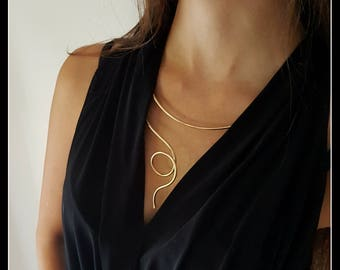 One Piece!!!  Art for Body-contemporary necklace-modern jewellery-artistic necklace-golden necklace-Made in Italy