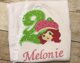 Custom embroidered little miss strawberry shortcake birthday shirt