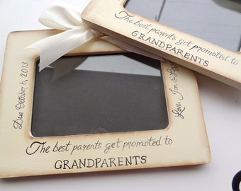 Set of 2 Ultrasound Grandparent Picture Frame Ultrasound Sonogram, New Baby Announcement,  4x6 The Best Parents Get Promoted to Grandparents