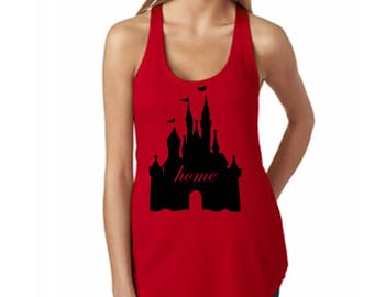 Women's Disney Tank Top Castle Home Fitted Top with Magic Kingdom Castle Matching Shirts Grate for Trip to Disney World and Disneyland
