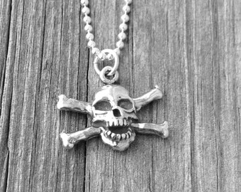 Skull and Crossbones Necklace, Skull Necklace, Skull, Jolly Roger Necklace, Charm Necklace, Sterling Silver Jewelry