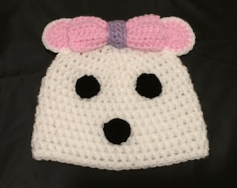 Pink polar bear hat // polar bear Christmas hat // white and pink bear hat // Christmas gift // stocking filler // secret santa