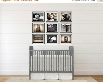 FLASH SALE til MIDNIGHT The Baseball Collection, Set of Nine Canvas Prints, Nursery Decor, Rustic Decor, Vintage Sports Decor, Sports Room,