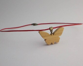 Cherry and red leather Butterfly pendant