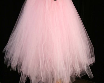Baby Pink tutu tulle skirt Streamer floor length formal Bridal wedding princess party dance prom bridesmaid - All Sizes -Sisters of the Moon