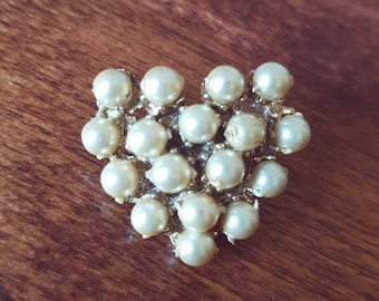 Vintage Faux Pearl Brooch, Unsigned