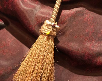 Besom (Witches' Broom): 10 inches. Beech Handle, with Sage and Vintage Bead Ornaments