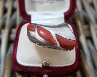 Vintage Sterling Silver Ring, Brown Coral, Statement, Size L1/2