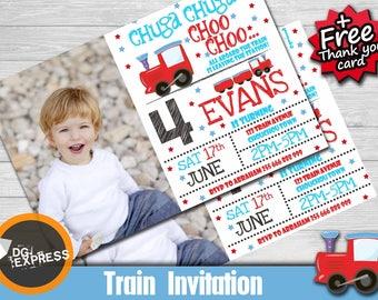 "Train Birthday Invitation - photo ""TRAIN INVITATION"" - Digital Train Party Invite, Chuga Chuga Printable, train Birthday, train party invite"