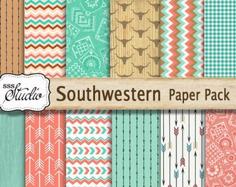 Southwestern Scrapbook Paper Pack Printable, Colorful Custom Designed background paper,  Western Scrapbook Supplies, arrows, cowboy,