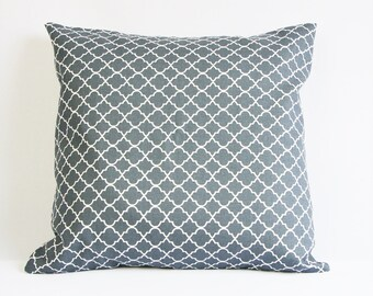 Grey graphic pillow case, Moroccan print pillow cover, quatrefoil pillow, clover pillow cover, anthracite and white, hard coal pillow case