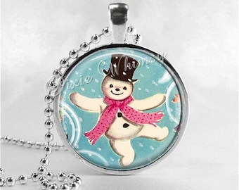 VINTAGE CHRISTMAS SNOWMAN Necklace, Snowman, Vintage Christmas Necklace, Christmas Jewelry, Christmas Pendant, Kitsch, Retro Christmas