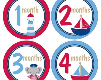 12 Monthly Baby Milestone Waterproof Glossy Stickers - Just Born - Newborn - Weekly stickers available - Design M038-01